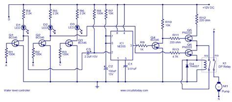 water tank level controller circuit diagram water level controller circuit using transistors and ne555