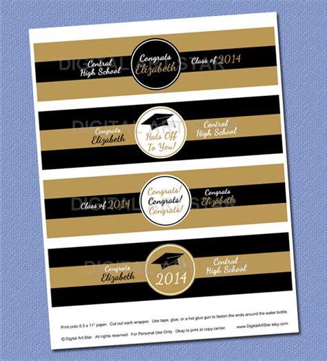 printable graduation labels digital art star printable party decor gold black