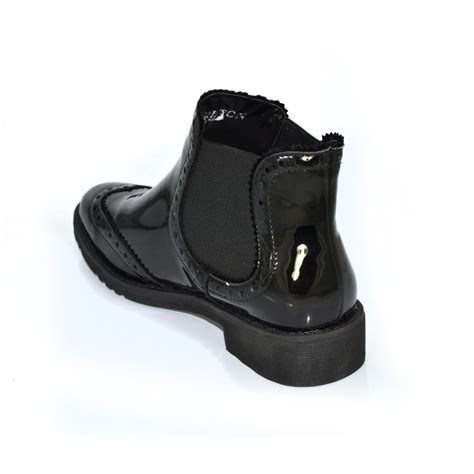 carlton flat patent ankle boots black