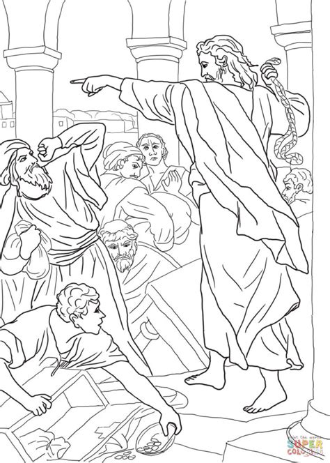 coloring page of jesus in the temple as boy jesus chasing the money changers from the temple coloring
