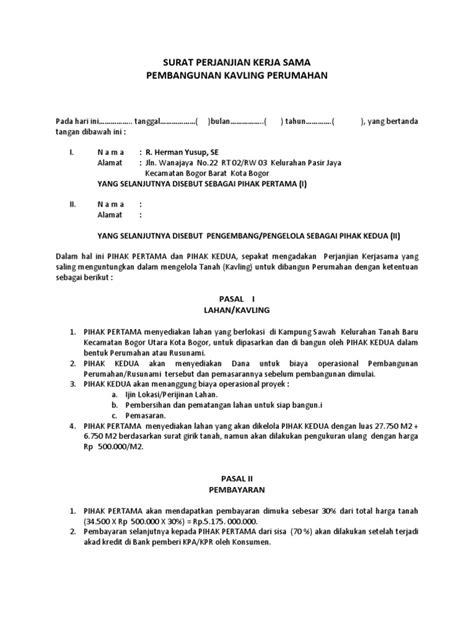70 contoh surat perjanjian kerjasama usaha bersama surat perjanjian