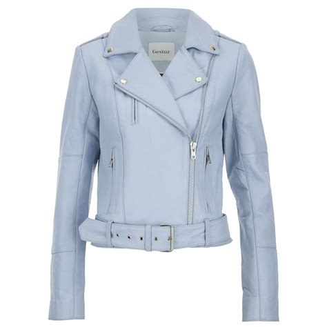 Best Seller Lqngch Cuir Size M gestuz s prue jacket baby blue free uk delivery