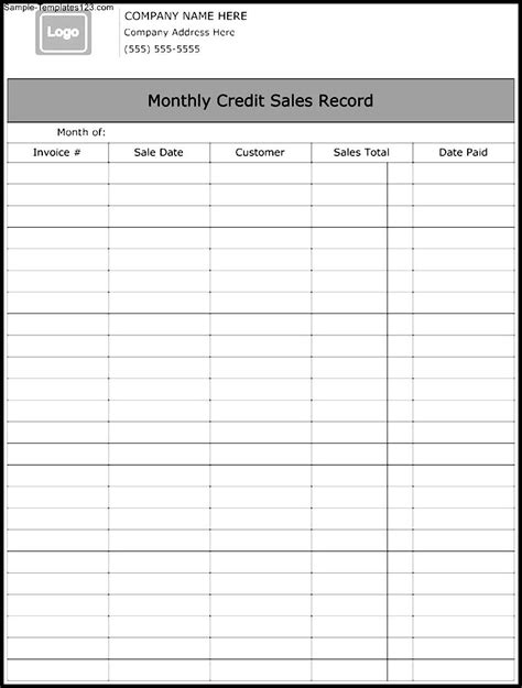 Monthly Credit Sales Record Template   Sample Templates