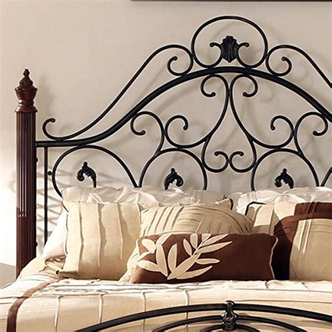 Queen Size Antique Style Wood Metal Wrought Iron Look Iron Scroll Bed Frame