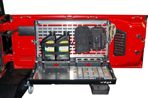 jeep jk tailgate storage warrior products 2230 tailgate table storage system for 97