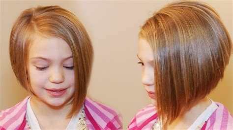 little seven year old hair cut how to cut an asymmetrical a line girls hair tutorial
