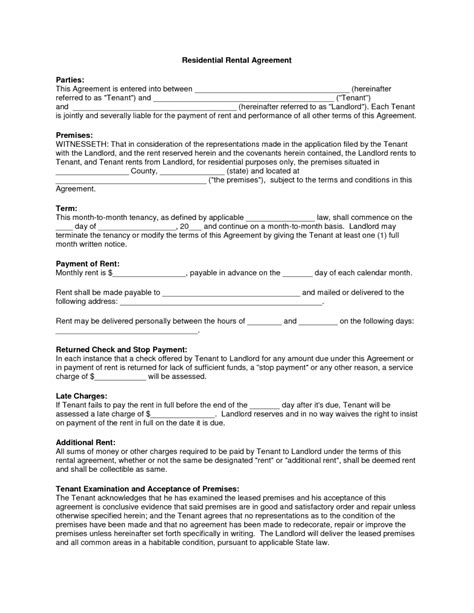 free blank residential lease agreement text template