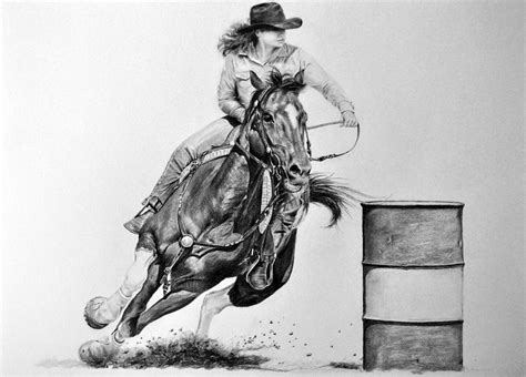 Double Size Duvet Cover The Barrel Racer Drawing By James Foster