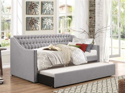 twin bed head rest of the room picture of cherry twin nail head and grey furniture on pinterest