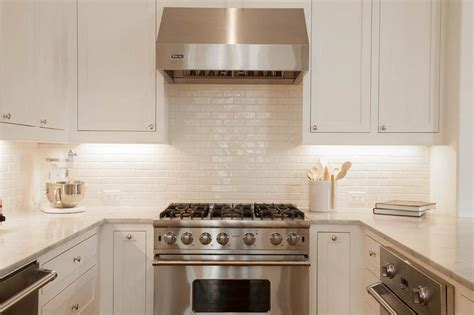 white backsplash for kitchen white glazed kitchen backsplash tiles transitional kitchen