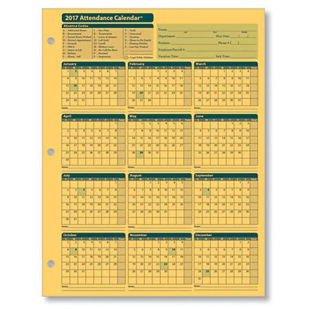Complyright Attendance Calendar Cards 8 12 X 11 Yellow Pack Of 25 By Office Depot Officemax Complyright 2018 Attendance Calendar Cards 8 12 X 11 White Pack Of 25 By Office Depot Officemax