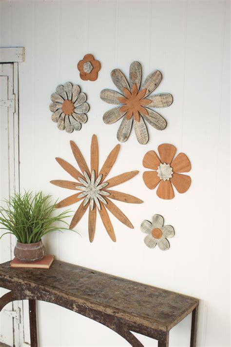 set   wooden flower wall art