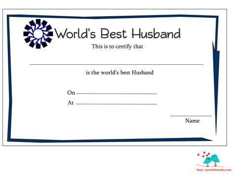 S Day Card For Fiance Free Publisher Template by Free Printable World S Best Husband Certificates