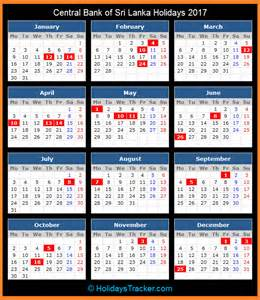 Calendar 2018 Sri Lanka Central Bank Of Sri Lanka Holidays 2017 Holidays Tracker