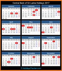 Calendar 2018 With Holidays In Sri Lanka Central Bank Of Sri Lanka Holidays 2017 Holidays Tracker
