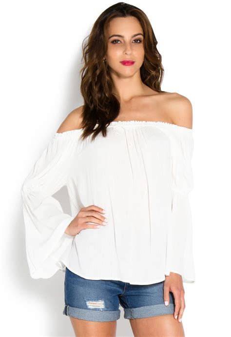 Bell Sleeve Top Original bell sleeve shoulder top shoedazzle