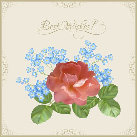 vintage flower wishes cards design vector free vector in