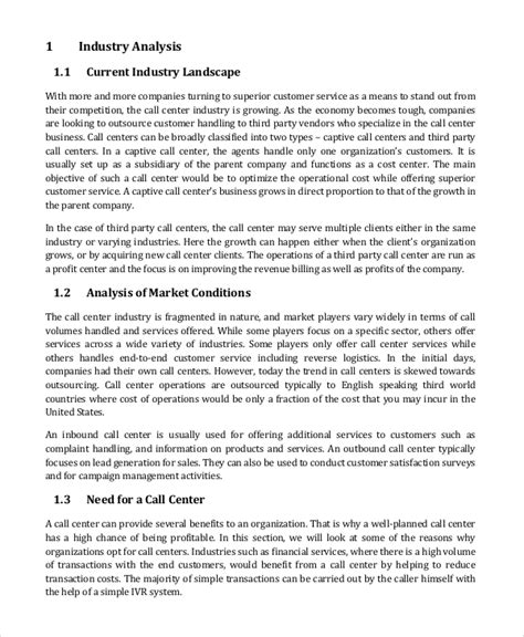 call center plan template business continuity plan 9 free pdf word