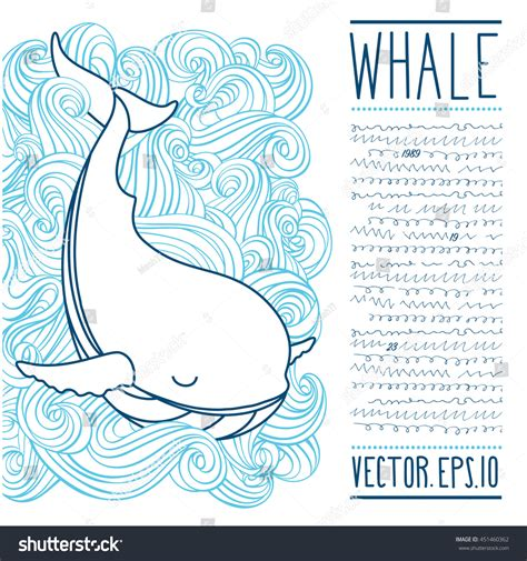 doodle article vector whale on waves sketch doodle stock vector 451460362