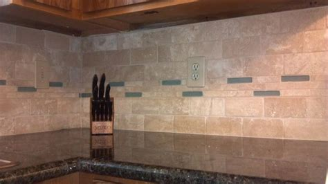 tile backsplash and glass and travertine tile