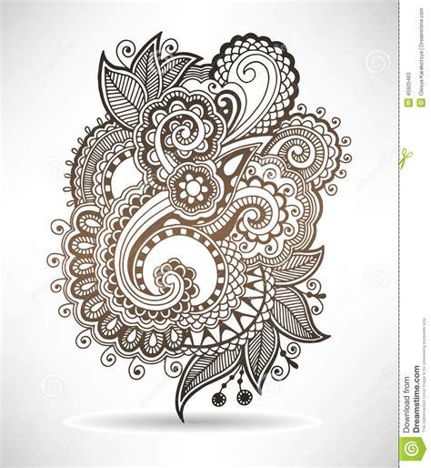 line art ornate flower design ukrainian ethnic stock