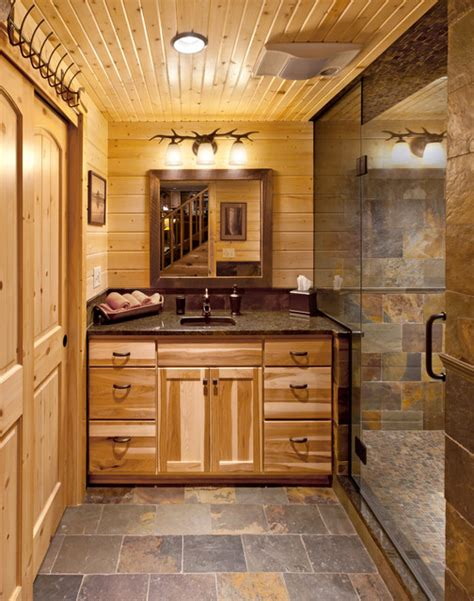 Pre Fab Kitchen Cabinets by Log Cabin Bath Hickory Rustic Bathroom Milwaukee