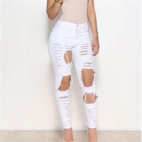 Apparel Lab Womens Ripped White big holes ripped tassels high waisted pencil trousers black white