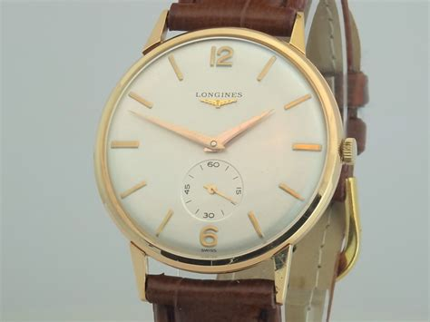 longines 18k gold large 35mm 1956 vintage gold watches