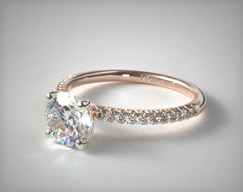 engagement gold ring pic pave engagement ring flush fit 14k gold