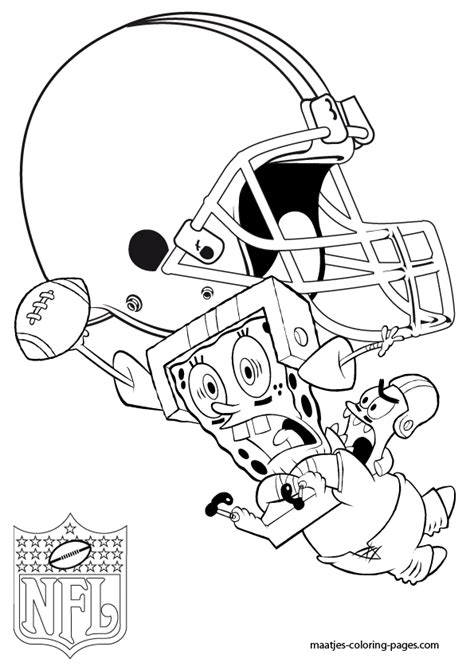 spongebob nfl coloring pages cleveland browns patrick and spongebob coloring pages