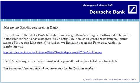 www bank de phishing mail quot deutsche bank quot telewerkstatt leutschach