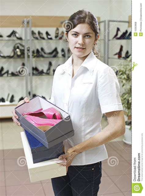 shop assistant in shoe store stock photo image 15353868
