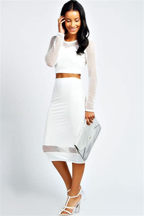 boohoo womens mesh crop top midi skirt co