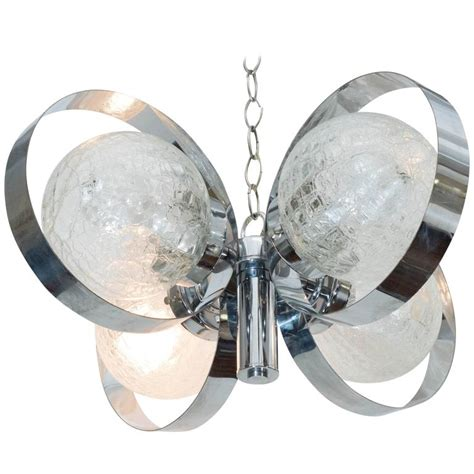 crackle glass l globe italian 1970s chrome ring chandelier with crackle glass