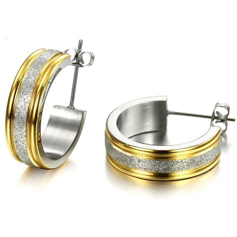 gold earrings stainless steel earrings gold hoop