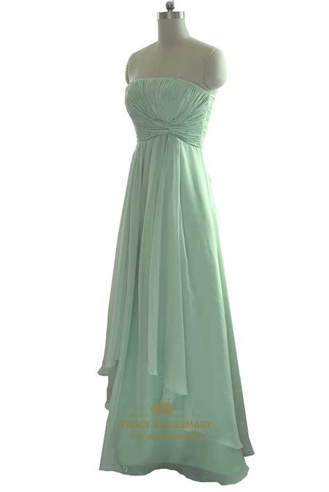 Strapless Bridesmaid Dress mint green strapless pleated bodice chiffon bridesmaid