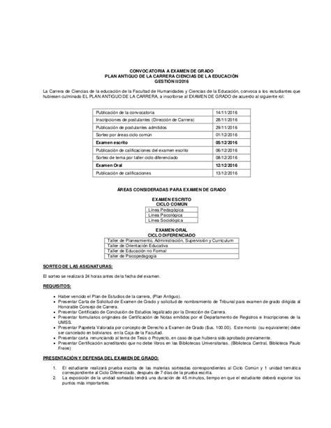 convocatoria para examen de categoria 2016 convocatoria a examen de grado 2 2016