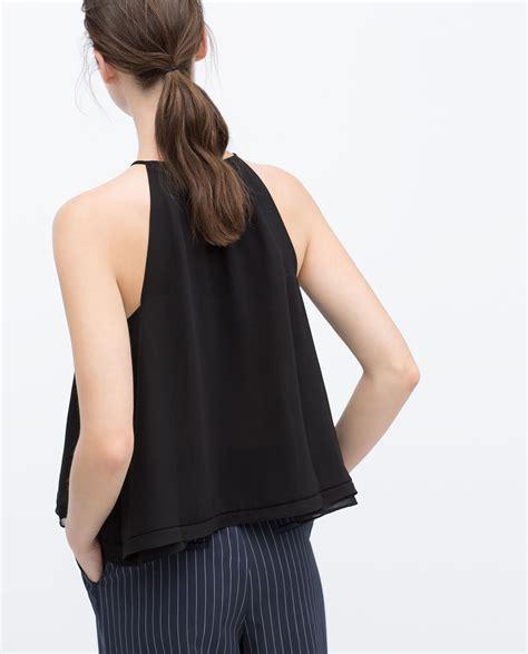 top neck black zara halter neck top in black lyst