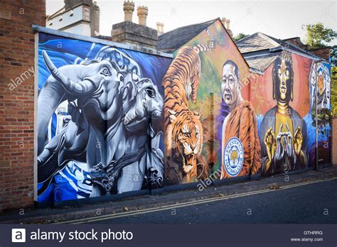 spray painter leicester leicester city football club mural league chions 2015
