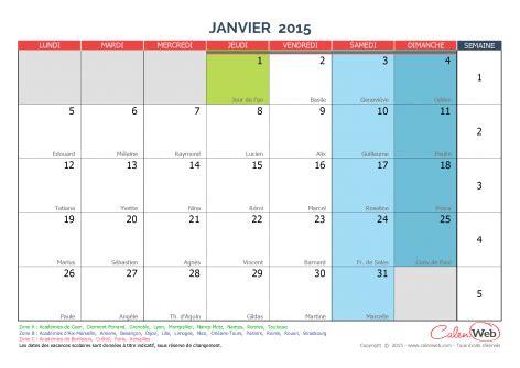 Calendrier 7 Janvier 2015 Calendrier Mensuel Mois De Janvier 2015 Avec F 234 Tes