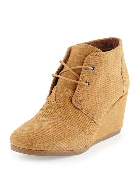 toms corduroy wedge desert boots in lyst