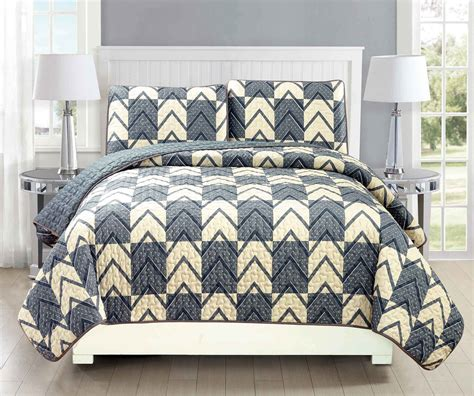 gray quilts coverlets chevron plaid gray ivory reversible bedspread quilt set ebay