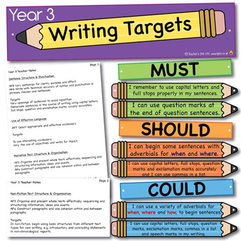 target grade 3 writing 0435183222 year 3 writing pencil targets