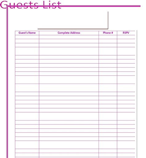 guest list template for wedding 30 free wedding guest list templates templatehub