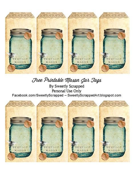 sweetly scrapped free printable blue mason jar tags with
