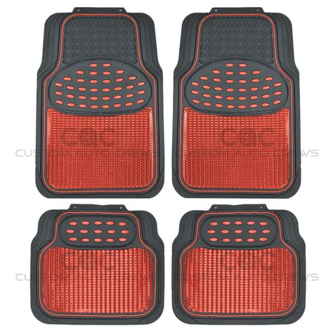 metallic rubber floor mats red for car suv truck black