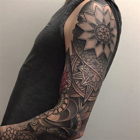 geometric patterns and mandalas sleeve by laura jade tattoos