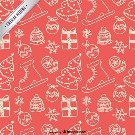 xmas pattern vector フリー素材 スケート靴やツリーに靴下などクリスマスのモチーフの手描きイラストにしたベクターパターン