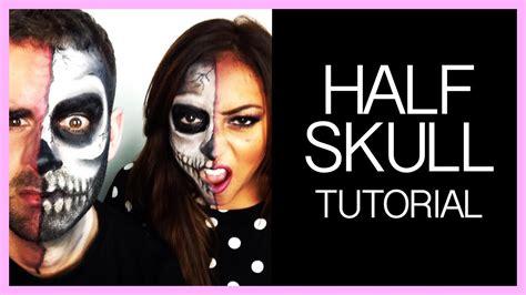 makeup tutorial girl slams head half skull halloween make up tutorial for guys girls