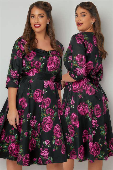 Sale Id 321 Faces Print Dress voluptuous black pink floral print dress with